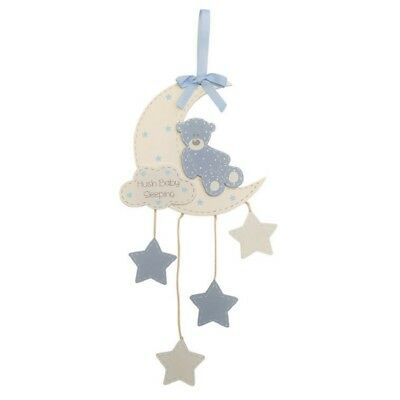 Baby Sleeping Teddy Moon Sign Plaque Boy Girl Pink Blue Hanging Décor Nursery
