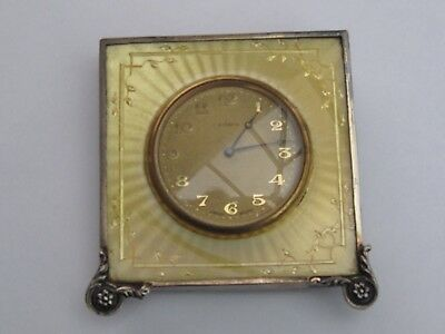 Art Deco 8 Day Swiss Made Travel Clock, Sterling Silver & Guilloche Enamel Case