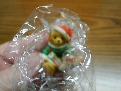 Cherished Teddies 1996 Santa with Block Christmas Ornament