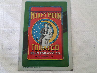 Scarce Honeymoon Penn Tobacco Tin Litho Sign Wilkes Barrie Pa Excellent