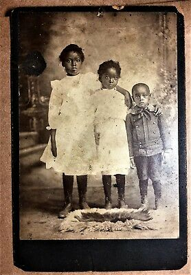 Antique Early Image 20th Century African American Children Family Cabinet Photo