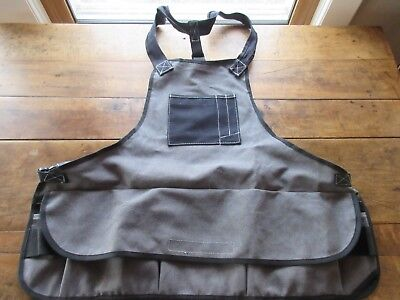 Heavy Duty Work Apron Durable Tool Aprons All Purpose 15 Pockets Gray/Black NEW