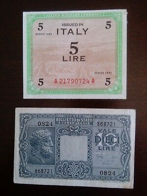 Lot Of 2 Old Wartime Italian Italy Lire Notes