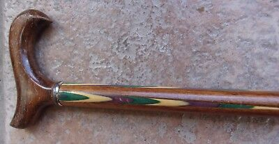 Antique Vintage Cane Walking Stick With Bone Green Purple Inlay