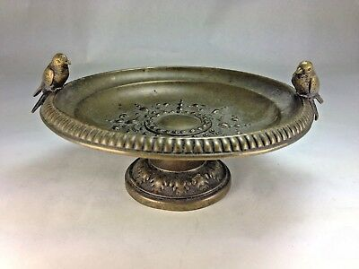Antique Art Nouveau Brass Bird Bath With Birds Pedestol Bowl