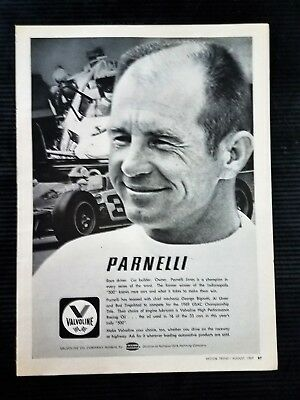 1968 Valvoline Oil Parnelli Jones Racing - Original Vintage Full Page Ad