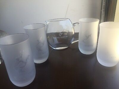 4 Used Remy Martin Frosted Glasses Fine Champagne Cognac With Small Pitcher
