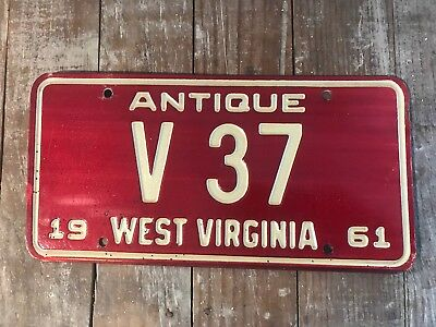 1961 West Virginia Antique Car License Plate RARE Low Number TWO DIGIT #37