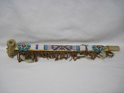 Native American Tobacco Peace  Pipe, Modern With Antler Horn Bowl & Beadwork