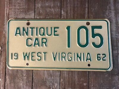 1962 West Virginia Antique Car License Plate RARE and VERY NICE!!