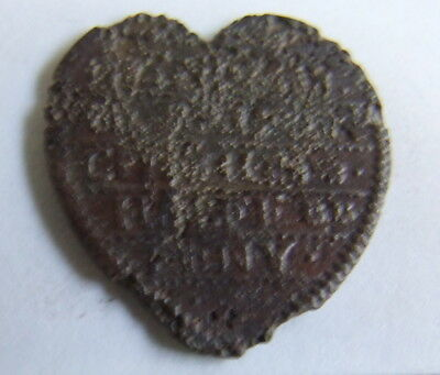 Very Rare 17th Century Heart Shaped Halfpenny Token (Detector Find)