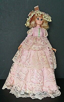 """EEGEE GEMMETTE 1963 Doll in Pink 15 1/2"""" with original plastic stand"""