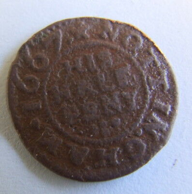 Scarce 17th Century His Halfpenny Traders Token  1667 (Detector Find)