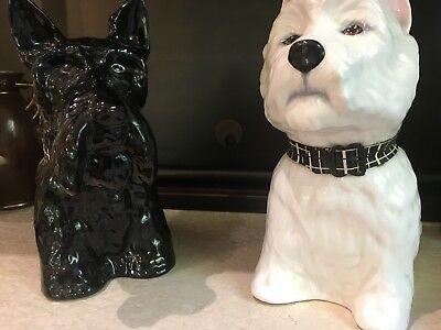 Scottie and Westie dogs Black And White scotch whiskey collectibles Circa 1970