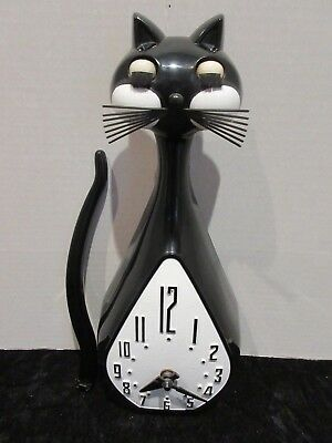 Vintage Hanging Cat Clock with Tail Pendulum Battery Operated