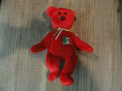 Ty Beanie Baby RED OSITO Bear Mexico w/ Tag ERRORS Plush Toy RARE PE NEW RETIRED