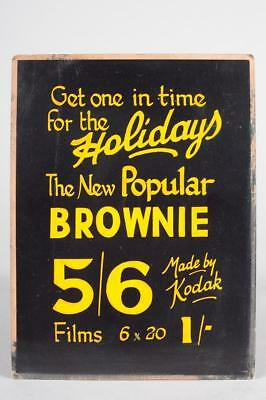 "Original ~ Vintage ~ c1930 Kodak ""The New Popular Brownie"" Hand Painted Sign"