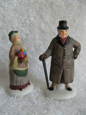 DEPT 56 - Dickens - CHELSEA LANE SHOPPERS - MINT - Set of 2 - No Box - #58165