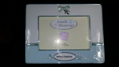 Russ Baby Picture Frame Small Blessings Blue Boy Baby's Baptism 4 x 6""