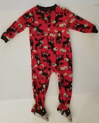 Carter's Red Beaver Moose Foot Long Sleeve Footed Fleece Pajamas Boys 24 Months