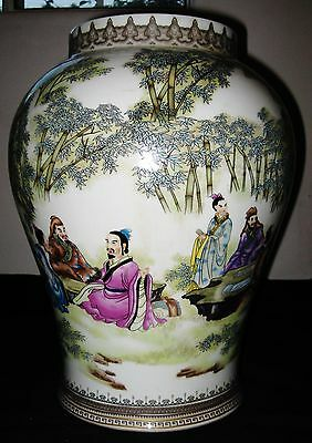 Antique Chinese Figures Hand Painted Porcelain Vase, YongZheng Mark, NR.