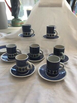 Vintage Cinque Ports Pottery Rye Monastery 7 Cups 7 Saucers Blue Circle Design
