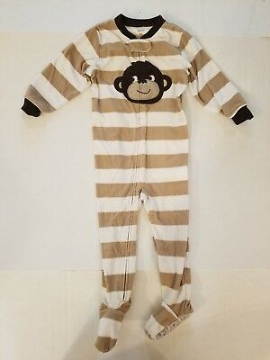 Carter's Brown Striped Monkey Fleece Long Sleeve Footed Pajamas Boys 24 Months