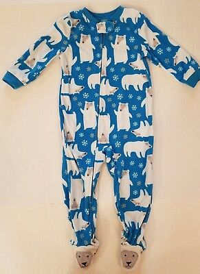 Carter's Blue White Polar Bear Feet Footed LS Fleece Pajamas Boys 24 Months