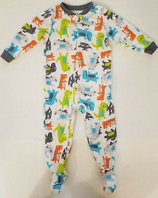 Carter's White Dinosaur Footed Long Sleeve Fleece Pajamas Boys 24 Months