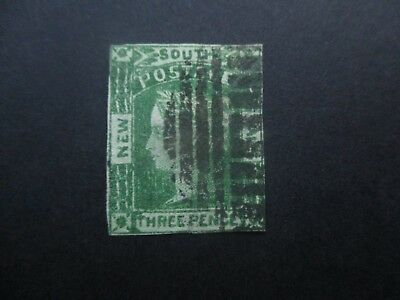 NSW Stamps: 3d Green Watermark doubled line number  Free Post  (j23}