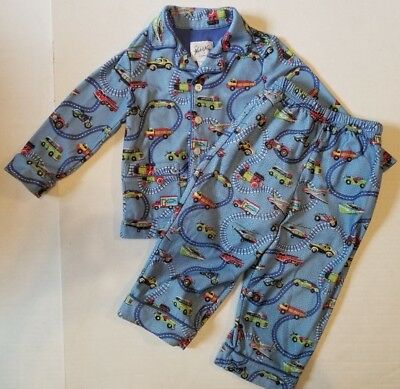 Nick & Nora Blue Two Piece Long Sleeve Button Front Top Car Pajamas Boys 2T