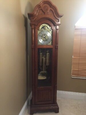Ridgeway Pulaski Pendulum Grandfather Clock, 3 Chimes, Moon Phase - Used