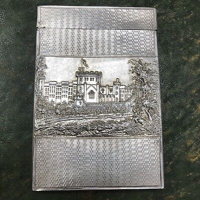 Extremely Rare Antique Silver 1800s Windsor Castle Top Card Case Warwick