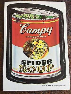 1967 Vintage WACKY PACKAGES Card UNPUNCHED Campy Condemned Spider Soup #5