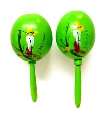 Set of 2 Authentic Mexican Gourd Maracas Shakers, Hand-painted NEON LIME GREEN