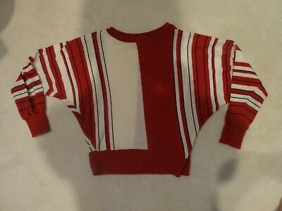 vintage LAUREN Knitwear Corp sweater - brick red, ivory, black vertical stripes