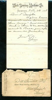 1868 antique WEED SEWING MACHINE LETTERHEAD/COVER handwritten letter BOSTON MA