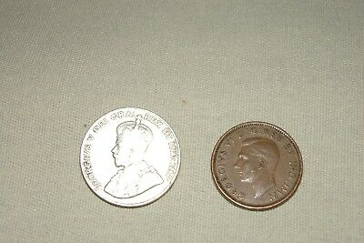 Canada Coins 1930 Five Cents & 1943 One Cent - Free Shipping !