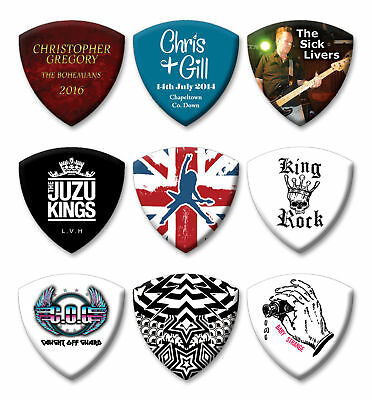 12 X Personalised Bass Guitar Picks Full Colour Printed Double Sided Print