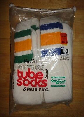 Vintage 1970s 1980s VanCort Over The Calf Striped Tube Socks -- 6 Pair *NEW*