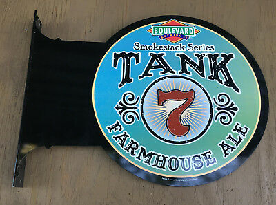 Boulevard Tank 7 Farmhouse Ale Round Double Sided Pole Beer Sign smokestack