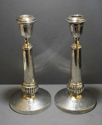 Persian? Pair 900 Silver Candlesticks. Massive 12.8 Troy Oz. 21 Cm Tall