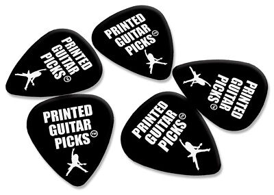 100 X Personalised Plectrums White Print On Black Guitar Picks Double Sided