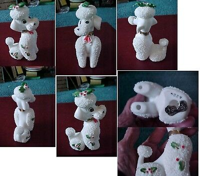 Vintage Poodle Figurine Salt/sugar Glaze Xmas Trim Norcrest Gold Collar