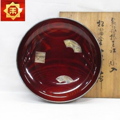 F846: Japanese KASHIKI bowl of lacquer ware with inlay work of pure silver