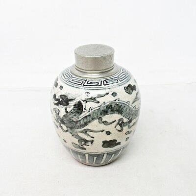 F995: Chinese SENCHA tea caddy of blue-and-white porcelain with popular tin top
