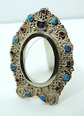 Vintage Mexican Sterling Silver & Turquoise Miniature Picture Frame