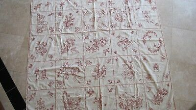 """Turkey Red embroidery coverlet  72""""X59""""."""