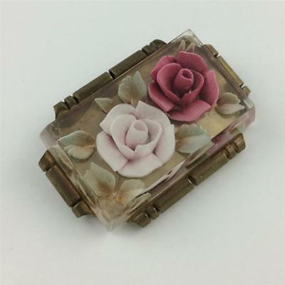 Vintage Antique Reversed Carved Pink Roses in Brass Setting Pin