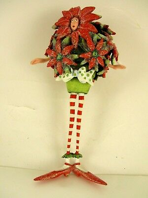 Mib Dept 56 Krinkles Potted Poinsettia Man  By  Patience Brewster 7 Inches Tall